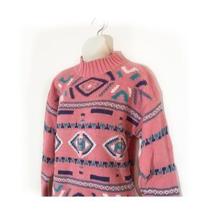 90s Vintage Aztec Sweater, Sz Large, Pastel, vsco